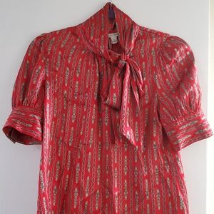 Red chain and buckle print silk blouse